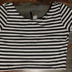 H&M black striped crop top
